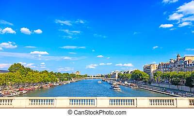 Paris, Seine river and traditional boats. Bridge view. France, Europe.