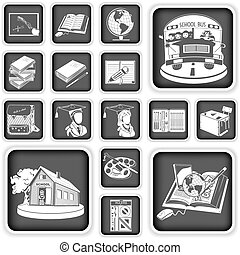 school squared icons - Collection of school squared icons