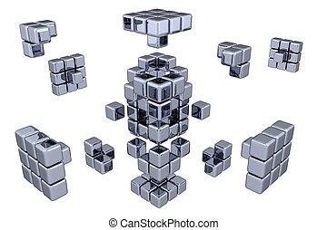 3D Cubes - Assembling Parts (3D, white background)