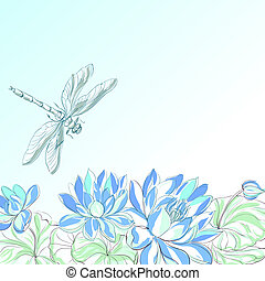 Lotus flower and dragonfly.