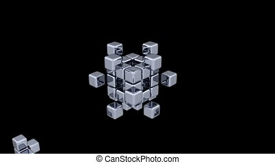 3D Cubes - Assembling Parts - 2 Colors - Animation 3D