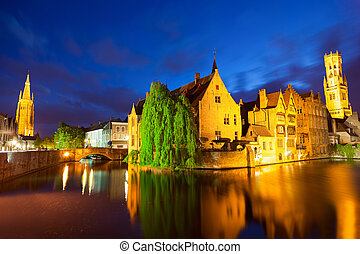 Bruges town at night - Night view of Bruges town World...