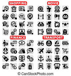 big web vector icon set - Elegant Vector Cinema, Shopping,...