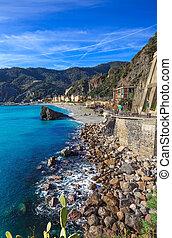 Monterosso beach and sea bay Cinque terre, Liguria Italy -...