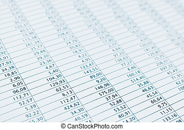 Business data financial report print close up. Blue toned. -...