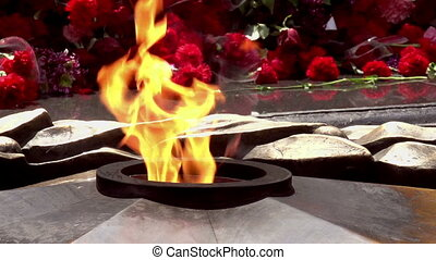 War Memorial - The eternal flame of fire in a large number...