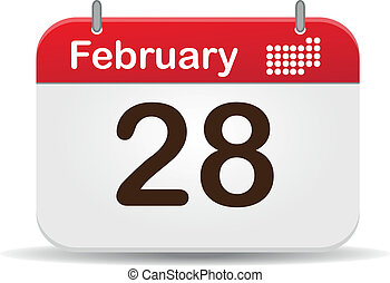 Calendar - 28 febrero calendar,white background