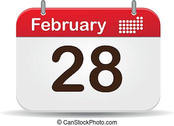 Calendar - 28 febrero calendar,white background