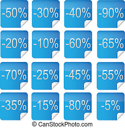 16 discount offers - 16 Discount Icons,Vector Illustration