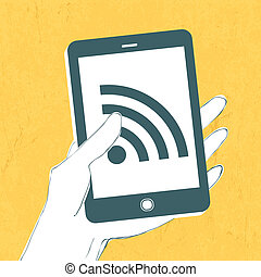 Smartphone with wireless connection icon. Vector