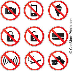 Prohibiting Sings - Red and White Prohibited Signs,Vector...