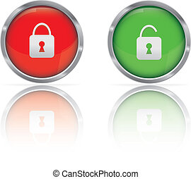 Secure Icon - Web Button Locked and UnlockedVector...