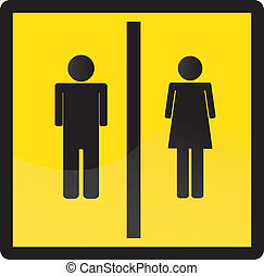 WC -  Man and women WC sign vector.