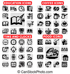 big vector icon set - Elegant Vector Education, Coffee,...