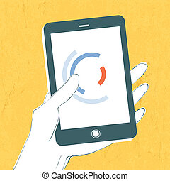 Hand with smartphone. Vector