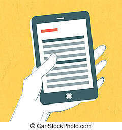 Smartphone with news page on screen. Vector