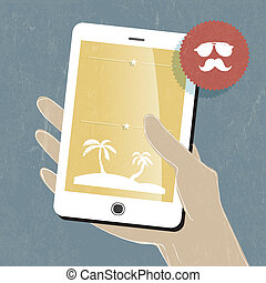 Summer travel conceptual illustration. Smart phone in hand. Vector