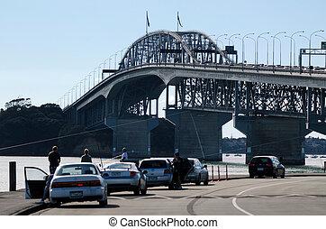 Auckland Harbour Bridge - AUCKLAND,NZ - JUNE 02:Fishermen...