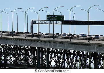 Auckland Harbour Bridge - AUCKLAND,NZ - JUNE 02:Traffic on...