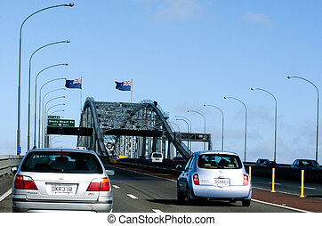 Auckland Harbour Bridge - AUCKLAND,NZ - May 27:Traffic on...
