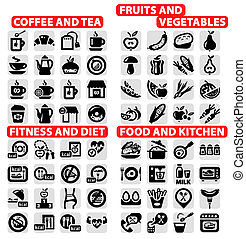 big icons set - Elegant Vector Coffee and Tea, food, Fruits...