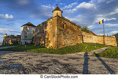 Brasov Fortress, Romania - Sunset view of Brasov Fortress,...