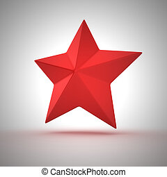 Red star - Red five-pointed star on the white background