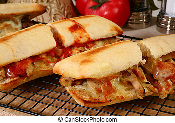 Hot Sub Sandwiches - Various toasted submarine sandwiches...