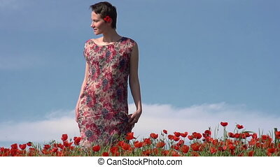Girl in the Poppy Field - Female Model with short hair...