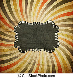 Grunge colorful rays background with vintage label for text....