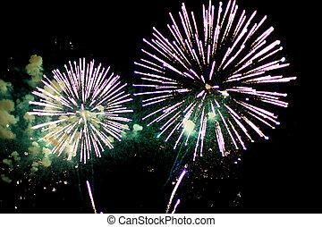 Celebratory firework - Celebratory bright firework in a...