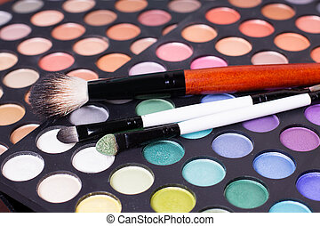 Set of professional eye shades wit brushes - Colorful set of...