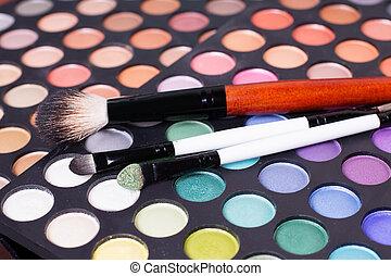 Set of professional eye shades wit brushes - Colorful set of...