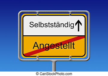 Angestellt - Selbstständig - Illustration of a German City...