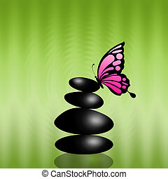 black stone massage - black stones with butterfly