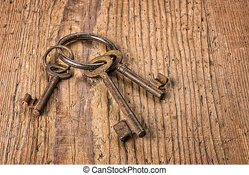 Three old keys on a key ring