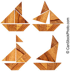 tangram sailing boats - four abstract pictures of sailing...
