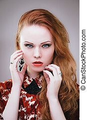 Lady vamp - Sensual fashion portrait of redhead vamp girl...