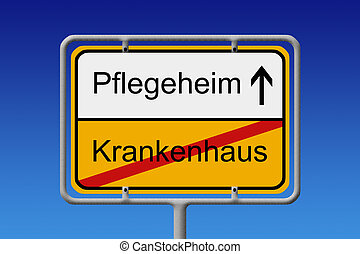 Pflegeheim - Krankenhaus - Illustration of a German City...