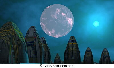 City of aliens, moon and UFO - High structures stand among...
