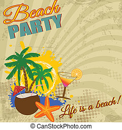 Vintage Beach Party poster on retro style, vector...