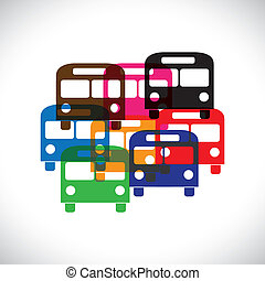 Concept vector graphic- abstract colorful transport bus...