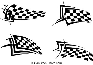 Tribal signs with checkered flags for sports or tattoo...