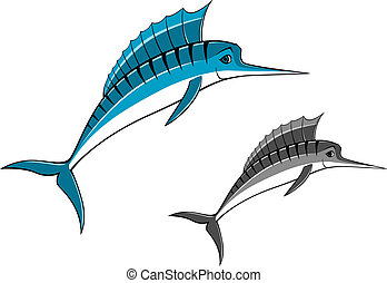 Blue marlin fish in cartoon style for fishing sports design