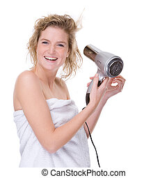 Woman with hairdryer - Full isolated portrait of a beautiful...