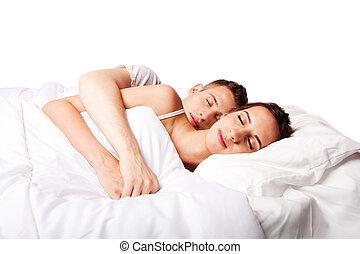 pareja, feliz, dormido, Cama