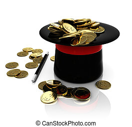 top hat trick with coins - top hat conjuring with coins