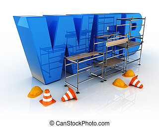 build a blue icon of web - 3d illustration of blue icon web...