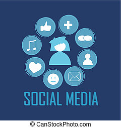 social media icons on blue background