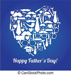 abstract heart - abstract happy father's day heart on blue...